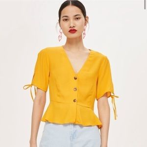 Byrony tea button front mustard top